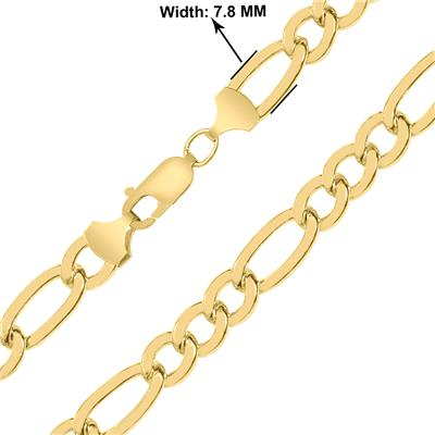 14K Yellow Gold Filled 7.8MM Figaro Bracelet with Lobster Clasp