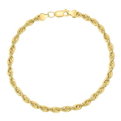 14K Yellow Gold Filled 6MM Rope Chain Bracelet with Lobster Clasp