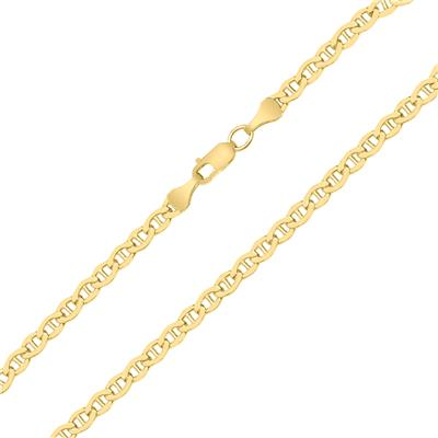 14K Yellow Gold Filled 3.2MM Mariner Link Chain Bracelet with Lobster Clasp