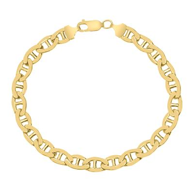 14K Yellow Gold Filled 7.4MM Mariner Link Chain Bracelet with Lobster Clasp