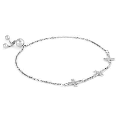 Sparkling Cross Charm Adjustable Bolo Bracelet in .925 Sterling Silver