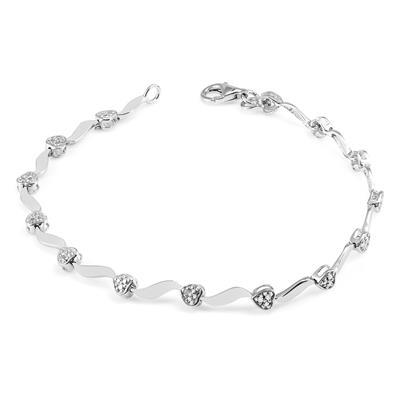 Diamond Heart Wave Bracelet in .925 Sterling Silver