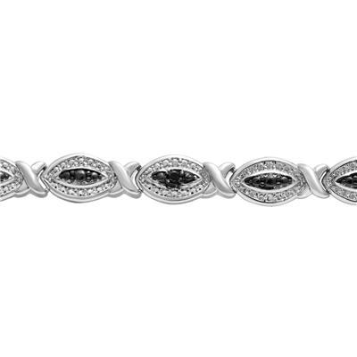 Black Diamond Hugs and Kisses Bracelet in Rhodium Plated Brass