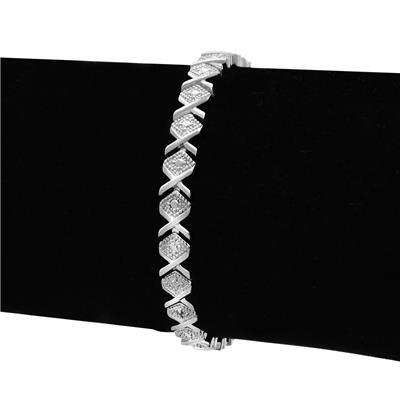 Diamond Accent Bracelet in Platinum Plated Brass
