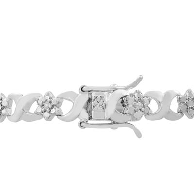 Platinum Overlay Diamond Infinity Link Flower Bracelet