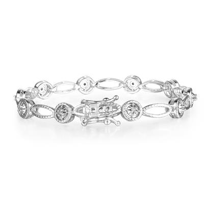 Antique Reproduced Creation 1/5 Carat Diamond Tennis Bracelet in White Gold Overlay