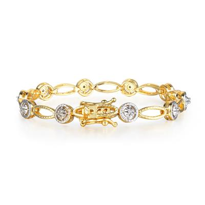 Antique Reproduced Creation Two-Tone 1/5 Carat Diamond Tennis Bracelet in Yellow Gold Overlay
