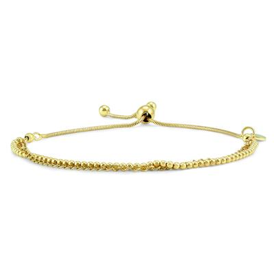 Bead and Chain Bolo Bracelet in Yellow Gold Plated .925 Sterling Silver