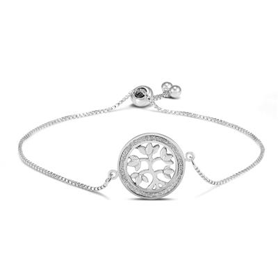 Tree of Life Glitter Sparkle Bead Bolo Bracelet in .925 Sterling Silver