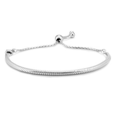 Adjustable Omega Bolo Bracelet in .925 Sterling Silver