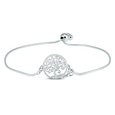 Tree of Life Bolo Bracelet in .925 Sterling Silver