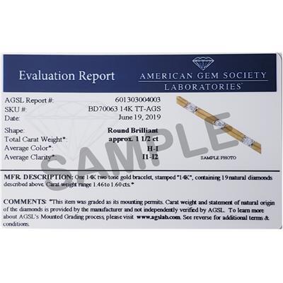AGS Certified 1 1/2 Carat Diamond Bracelet in 14K Two Tone Gold