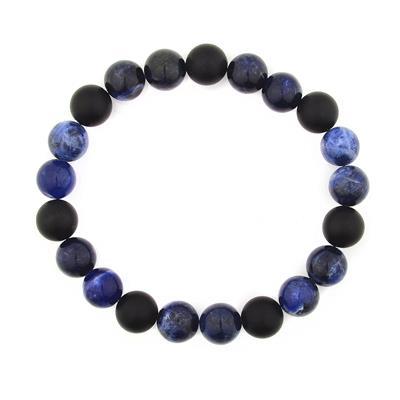 Sodalite and Matte Onyx Stone Beaded Stretch Bracelet (10mm)