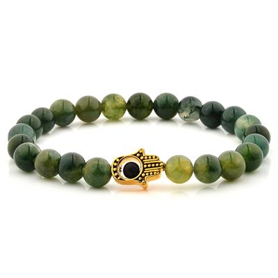 Moss Agate Stone Gold IP SS Hamsa Beaded Stretch Bracelet (8mm)