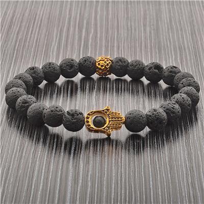 Lava Stone Gold IP SS Hamsa Beaded Stretch Bracelet (8mm)