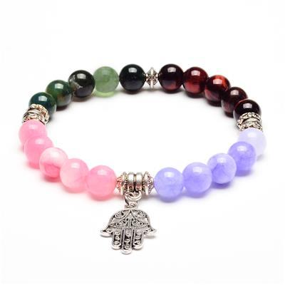 ELYA Hamsa Charm Jade, Agate and Red Tiger's Eye Stone Bracelet