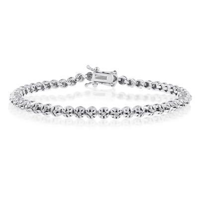 1 Carat TW Round Diamond Tennis Bracelet in Rhodium Plated Brass, 7 Inches