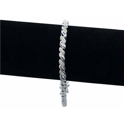 1 Carat Rose Cut Diamond Twist Bracelet in Rhodium plated Brass