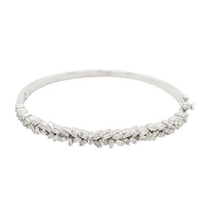 1 Carat TW Baguette Diamond Bangle Bracelet In Sterling Silver