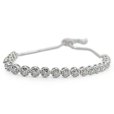Almost 1 Carat Moissanite Bolo Bracelet In Sterling Silver, Adjustable 6-9 inches
