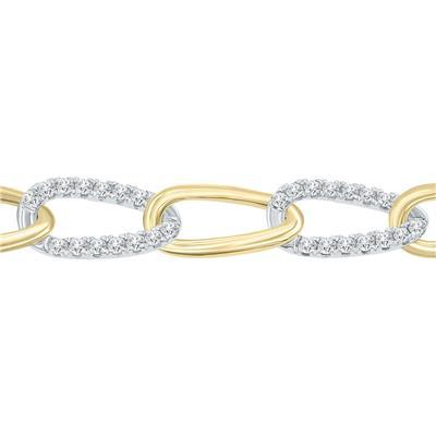 1 1/2 Carat TW Diamond Bracelet in 14K Two Tone Gold