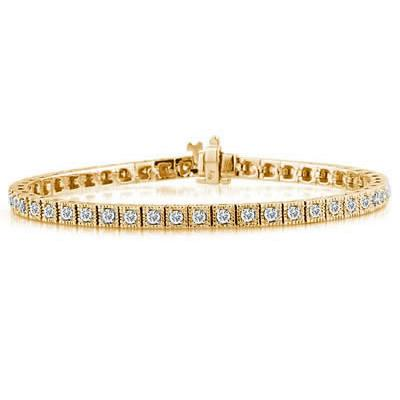 2 Carat TW Antique Square Box Bracelet in 14K Yellow Gold