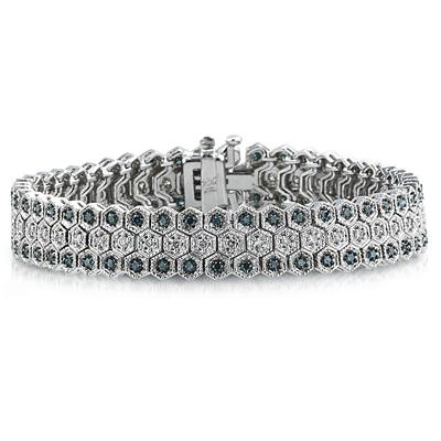Blue And White Diamond Bracelet in 14k White Gold BRF8118BL