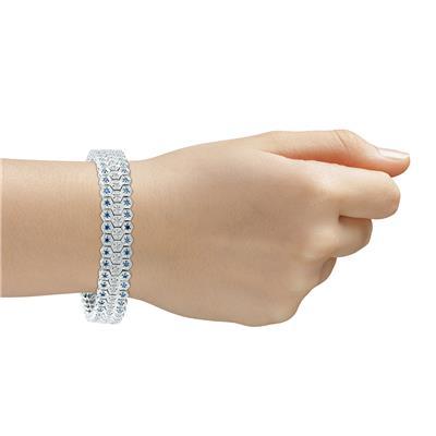 Blue And White Diamond Bracelet in 14k White Gold