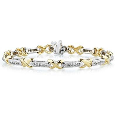 1/2 Carat Diamond Bracele Two Toned 14K Gold