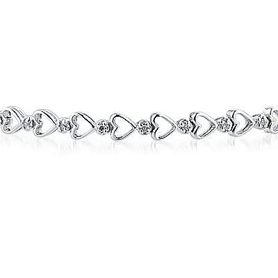 Diamond Heart Link Bracelet in 10K White Gold