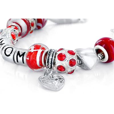 Hand Blown Red Glass Bead and MOM Charm Bracelet with FREE Matching Necklace