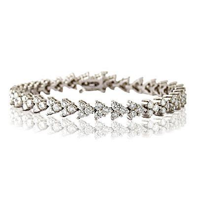6.50CTW Three Stone Diamond Bracelet in 14K White Gold