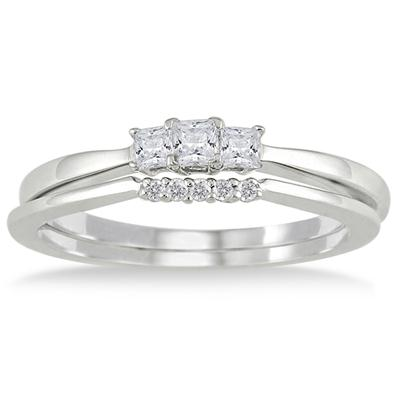 1/3 Carat TW White Princess Cut Diamond Bridal Ring Set in 10K White Gold