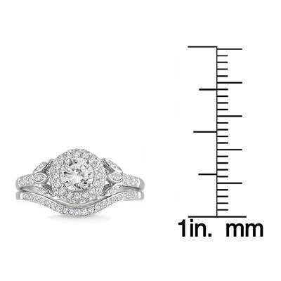 1 Carat TW Diamond Bridal Set in 14K White Gold