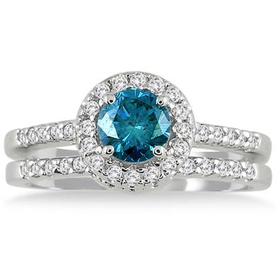 1 1/6 Carat TW Natural Blue and White Diamond Bridal Set in 10K White Gold