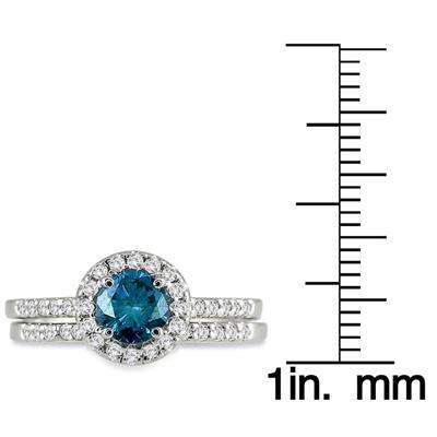 1 1/6 Carat TW Natural Blue and White Diamond Bridal Set in 10K White Gold