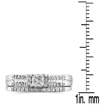 1/3 Carat TW Princess Diamond Bridal Set in 10K White Gold