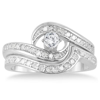 3/5 Carat Diamond Bridal Set in 10K White Gold