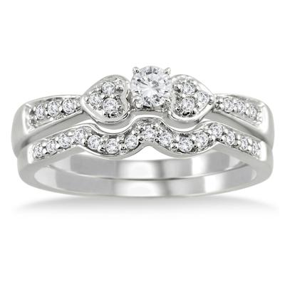 1/3 Carat TW Diamond Bridal Set in 10K White Gold