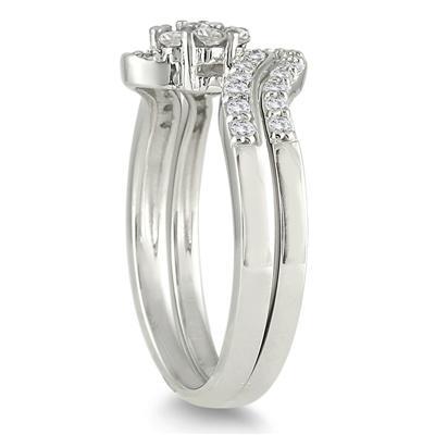 1/2 Carat TW Blue and White Diamond Bridal Set in 10K White Gold