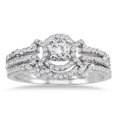 5/8 Carat TW Diamond Bridal Set in 10K White Gold