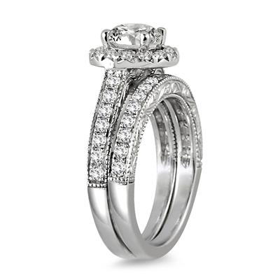 AGS Certified 2 Carat TW Diamond Halo Bridal Set in 14K White Gold (J-K Color, I2-I3 Clarity)
