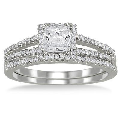 4/5 Carat TW Princess Cut Diamond Bridal Set in 10K White Gold