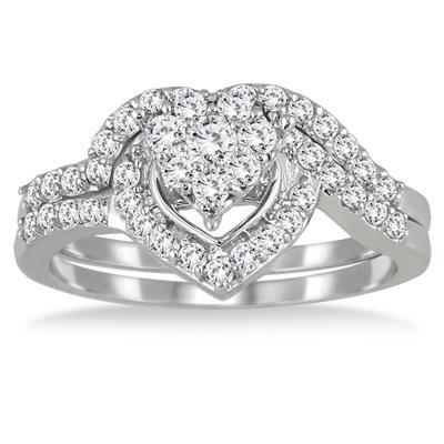 3/4 Carat Diamond Heart Bridal Set in 10K White Gold
