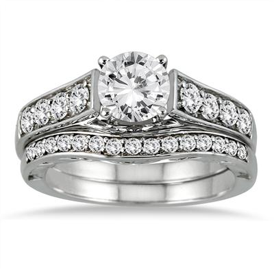 1 3/4 Carat TW Diamond Antique Bridal Set in 14K White Gold (J-K Color, I2-I3 Clarity)