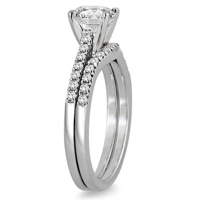 AGS Certified 1 Carat TW Diamond Bridal Set in 14K White Gold (H-I Color, I1-I2 Clarity)