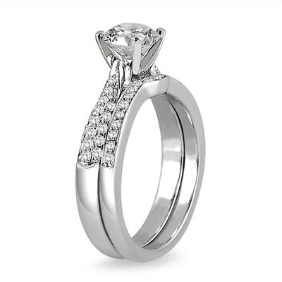 AGS Certified 1 1/2 Carat TW Pave Diamond Bridal Set in 14K White Gold (J-K Color, I2-I3 Clarity)