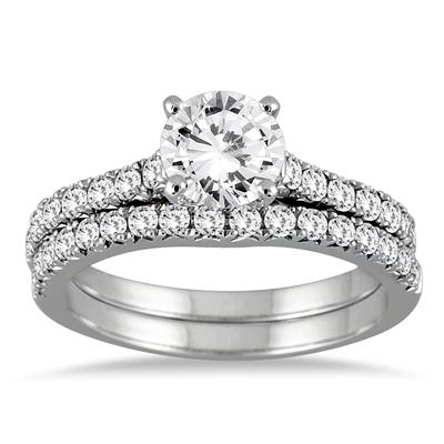 AGS Certified 1 1/4 Carat TW Diamond Bridal Set in 14K White Gold (I-J Color, I2-I3 Quality)