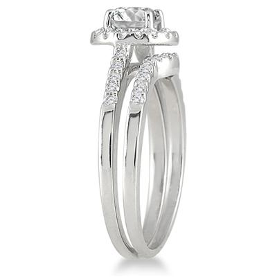 AGS Certified 1 1/6 Carat TW Diamond Bridal Set in 10K White Gold (I-J Color, I2-I3 Clarity)