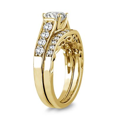 AGS Certified 1 3/4 Carat TW Diamond Antique Bridal Set in 14K Yellow Gold (J-K Color, I2-I3 Clarity)